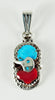 Sleeping Beauty Turquoise & Red Coral Snake Pendant
