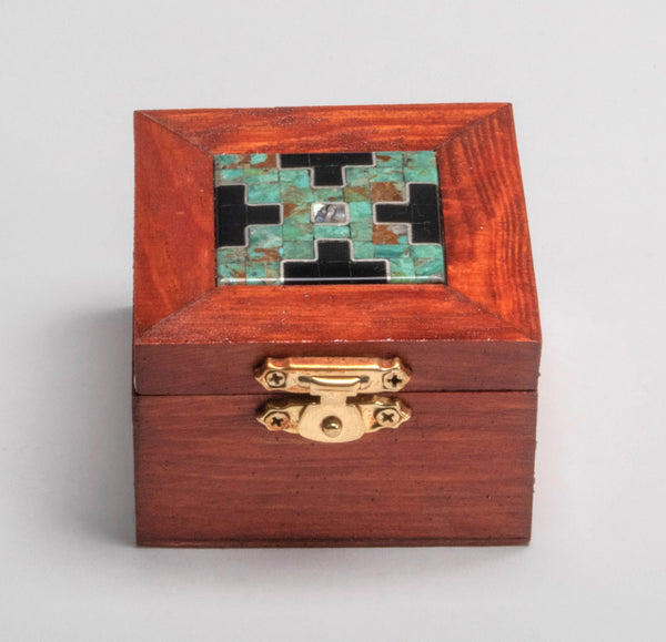 A Wooden Box With Mosaic Inlay