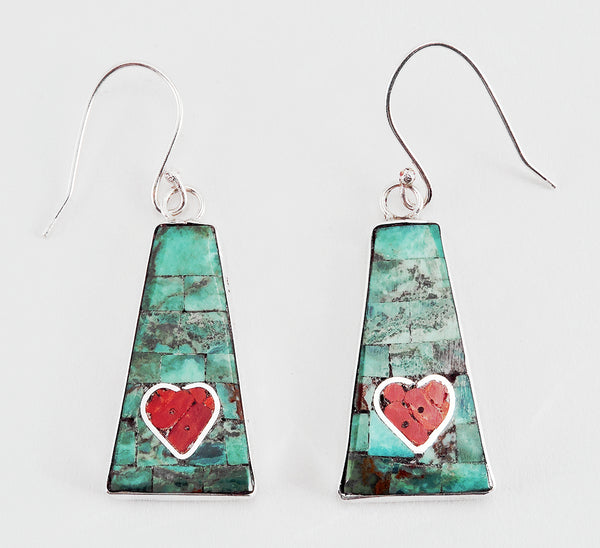 Reversible Inlaid Heart Earrings
