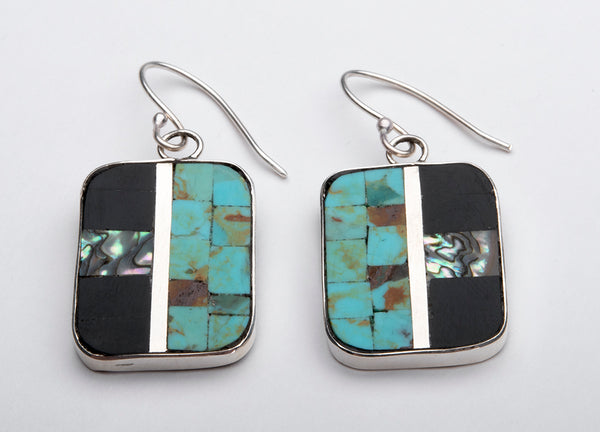 Reversible Turquoise, Jet, Abalone & Serpentine Earrings