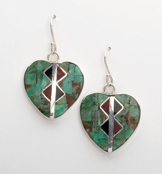 Sterling Silver, Turquoise, Jet, Pipestone & Mother-Of-Pearl Heart Mosaic Earrings