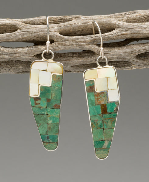 Turquoise, Gold Lip Shell, Mother-Of-Pearl & Serpentine Mosaic Earrings