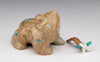 Zuni Travertine Frog With Removable Meal