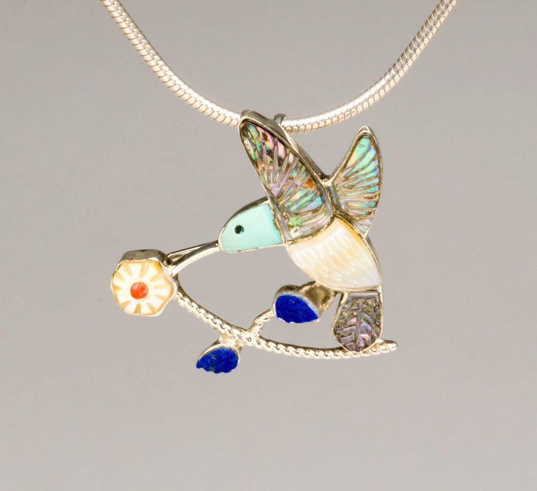 Hummingbird & Flower Delight Pin/ Pendant