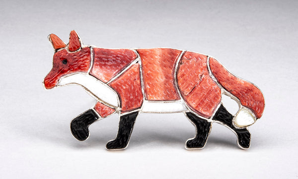 Red Spiny Oyster Shell, Mother-Of-Pearl & Jet Inlaid Red Fox Pin/Pendant