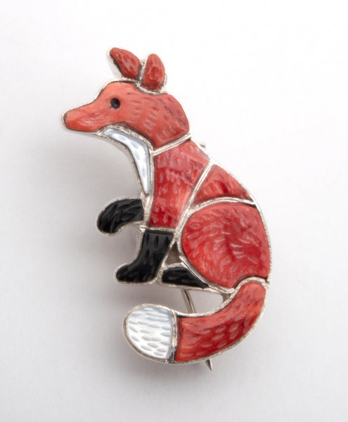 Red Fox Pin/Pendant Of Spiny Oyster Shell, Jet & Mother-Of-Pearl