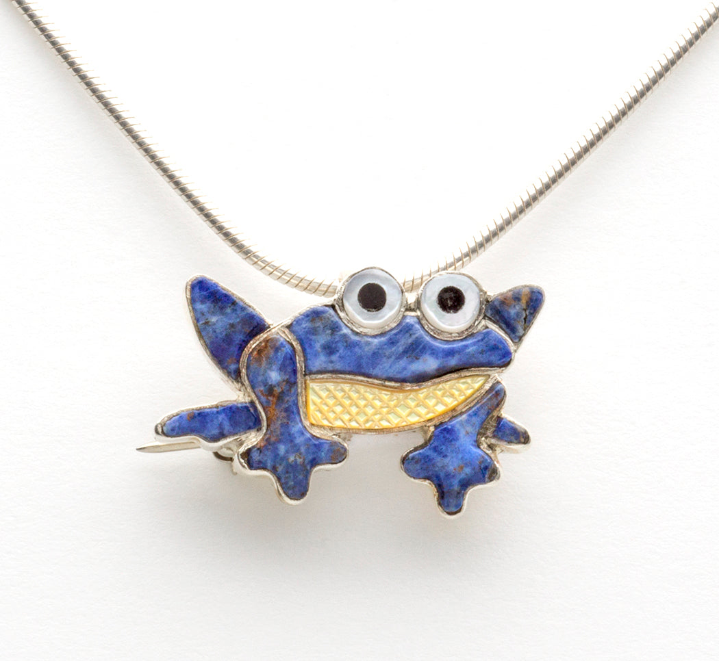 Sodalite & Gold Lip Shell Frog Pin/Pendant