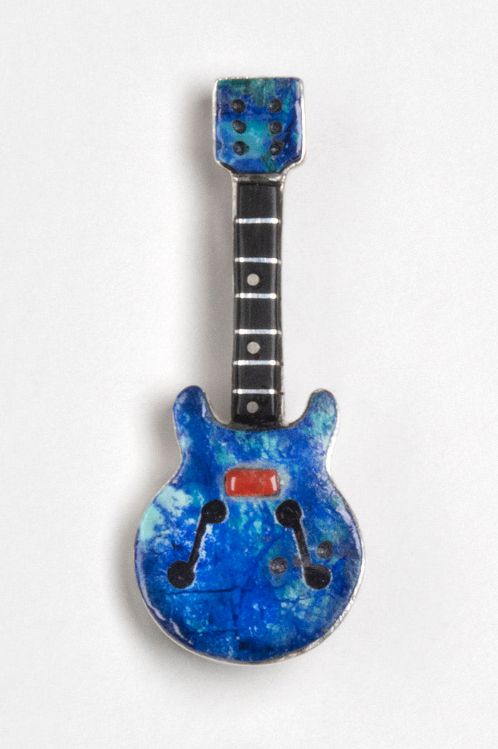 Sterling Silver, Azurite, Red Coral & Jet Inlaid Guitar Pin/Pendant