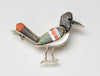 Sterling Silver, Black Lip Shell, Apple Coral, Spiny Oyster & Mother-Of-Pearl Roadrunner Pin/Pendant