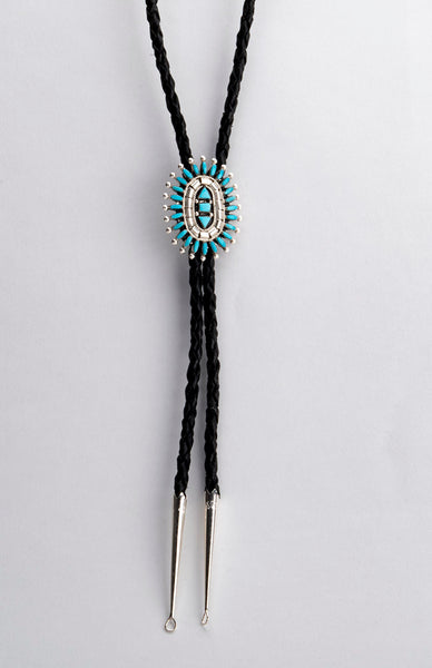 Sleeping Beauty Turquoise Petit Point Bolo Tie