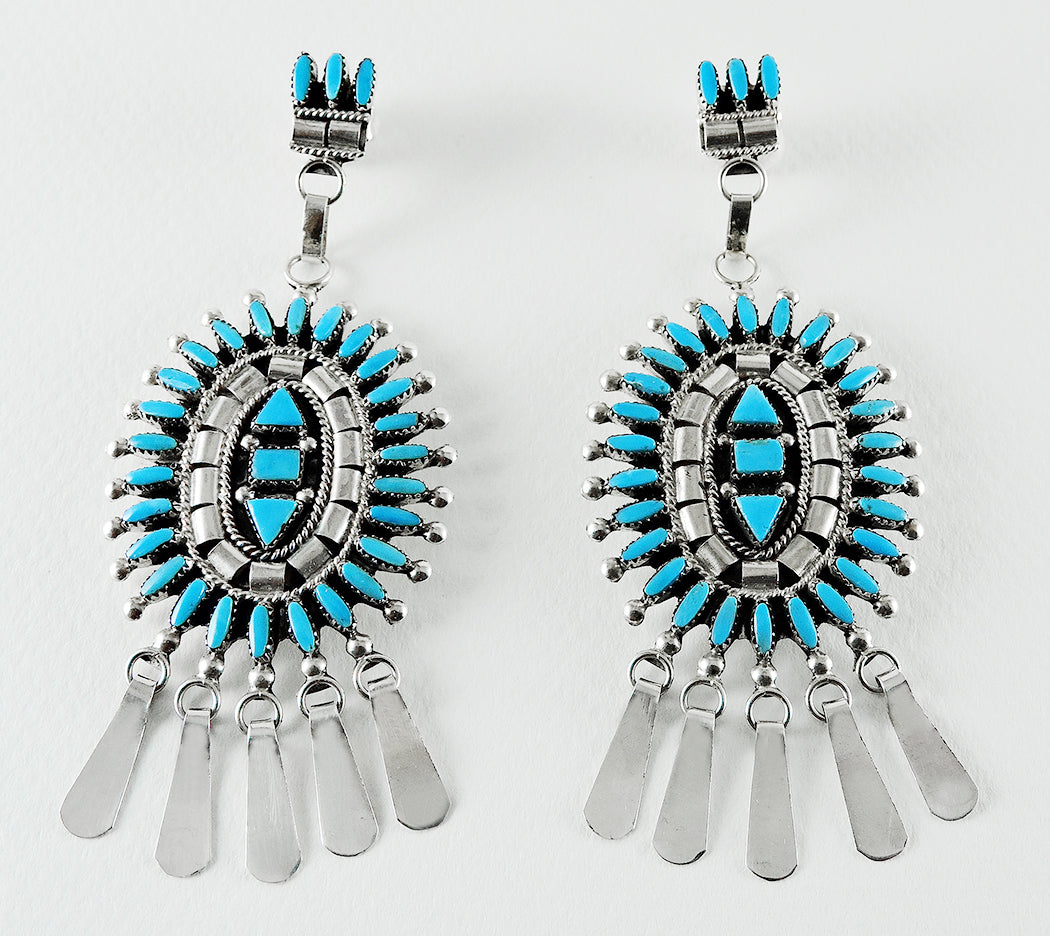 Dynamic Sleeping Beauty Turquoise Petit Point Earrings
