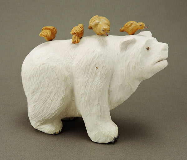 Ojo Rock Bear With Birds Of Zuni Travertine
