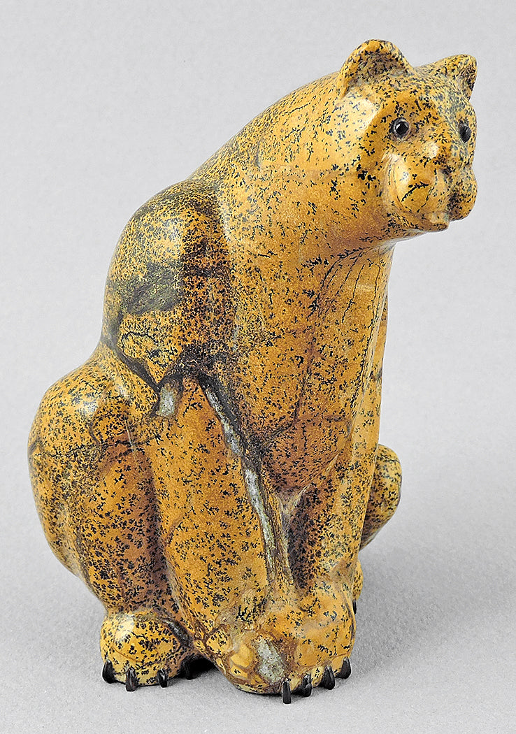 Pensive Leopard of Zuni Travertine