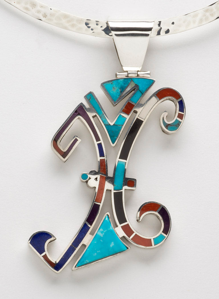 Multi-Material Inlaid Abstract Pendant