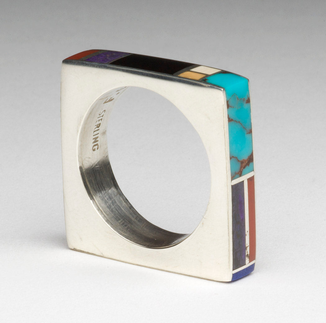 Ultra Modern Inlaid Square Ring