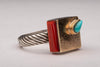 Contemporary Gold and Coral Ring With Turquoise