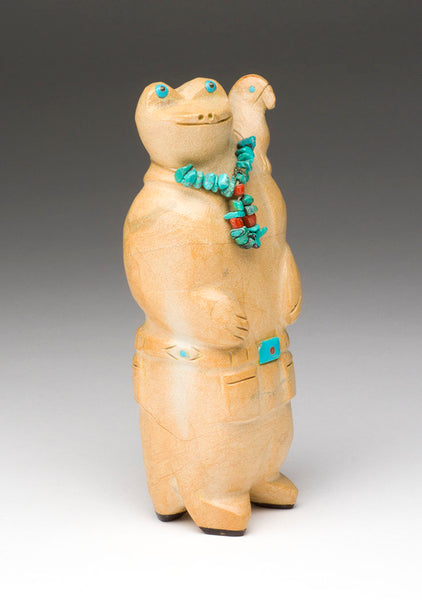Zuni Travertine Frog Man With Parrot