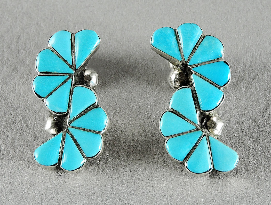Sleeping Beauty Turquoise Inlaid Earrings