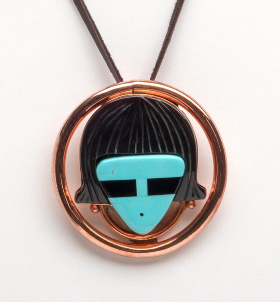 Kingman Turquoise & Copper Hawikuh Man Pin/Pendant