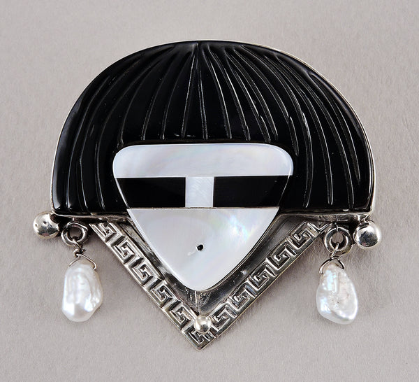 Hawikuh Man Pin Of Sterling Silver & Shell