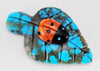 Apple Coral & Jet Ladybug On Turquoise Leaf