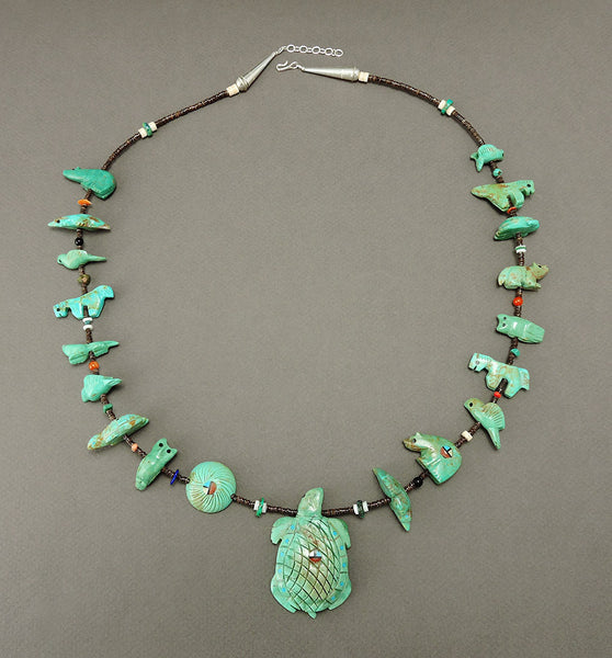 Green Turquoise Turtle & Companions Fetish Necklace