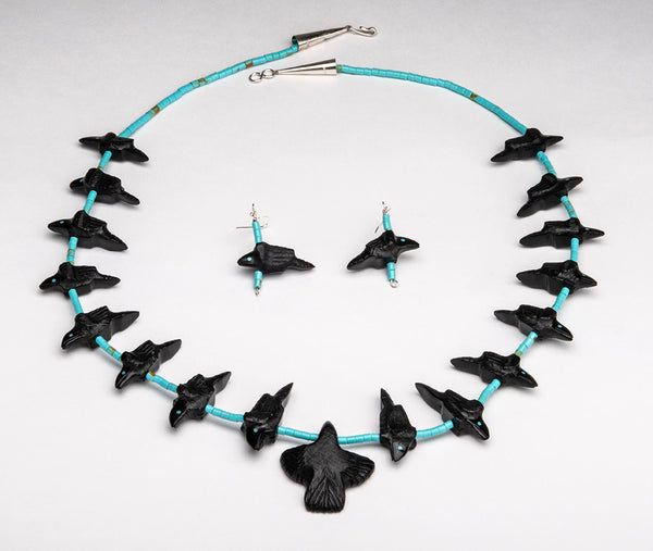 Magical All Raven Necklace and Earrings Set