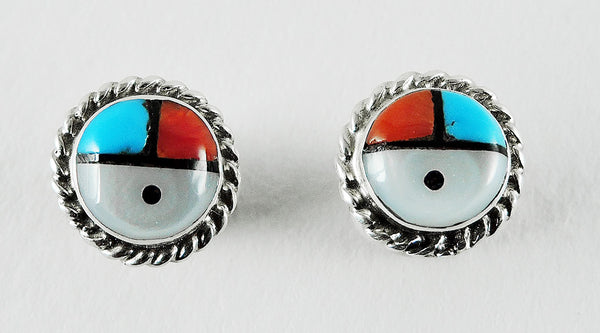 Multi Material Inlaid Sunface Earrings