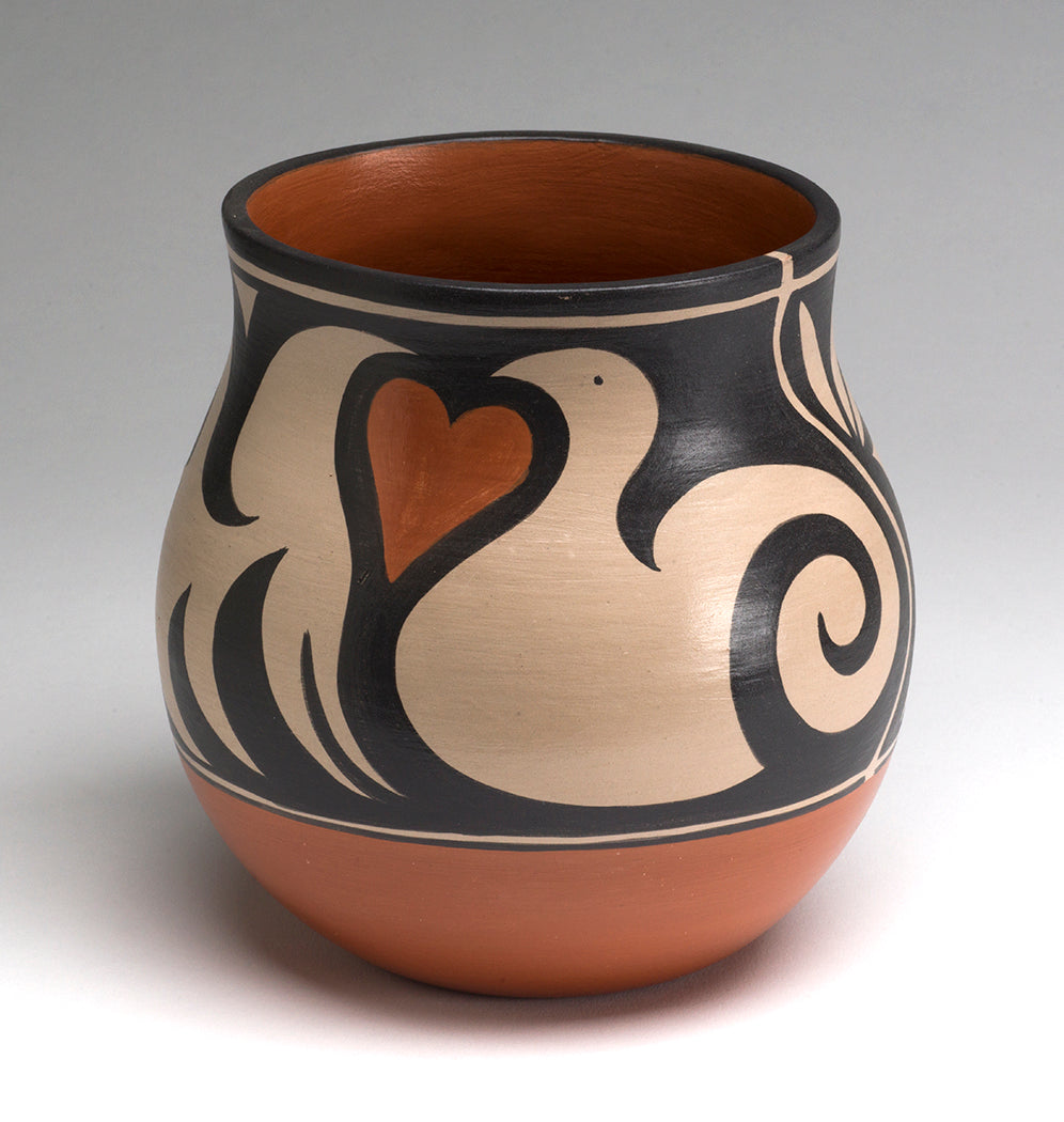 Bird, Heart & Plant Traditional Pottery Jar