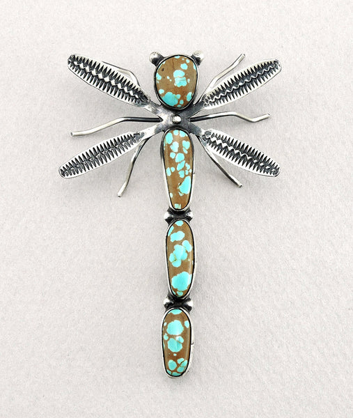 Delightful Dragonfly Pin Of #8 Mine Turquoise