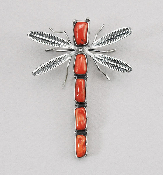 Sterling Silver & Natural Red Coral Dragonfly Pin