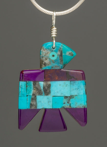 Reversible Mosaic Thunderbird Pendant Of Turquoise, Alunite & Gold Lip Shell