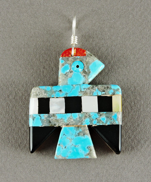 Two Sided Thunderbird Mosaic Pendant of Turquoise, Jet & Shell
