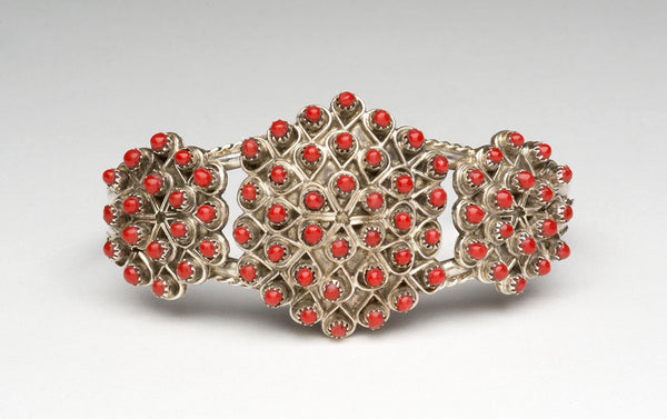 Natural Red Coral Petit Point Cuff Bracelet