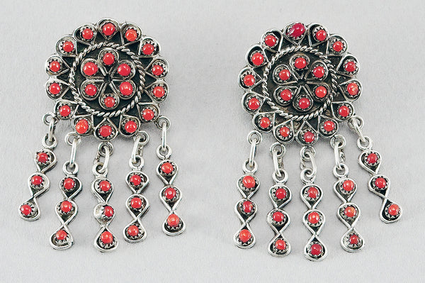 Natural Red Coral Petit Point Earrings
