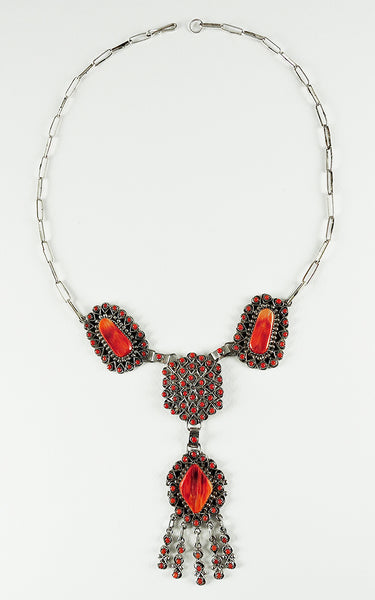 Red Coral & Red Spiny Oyster Shell Petit Point Necklace
