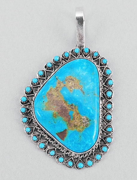 Royston Turquoise Pendant with Petit Point Border
