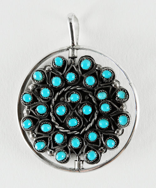 Sleeping Beauty Turquoise & Red Coral Spinner Pendant