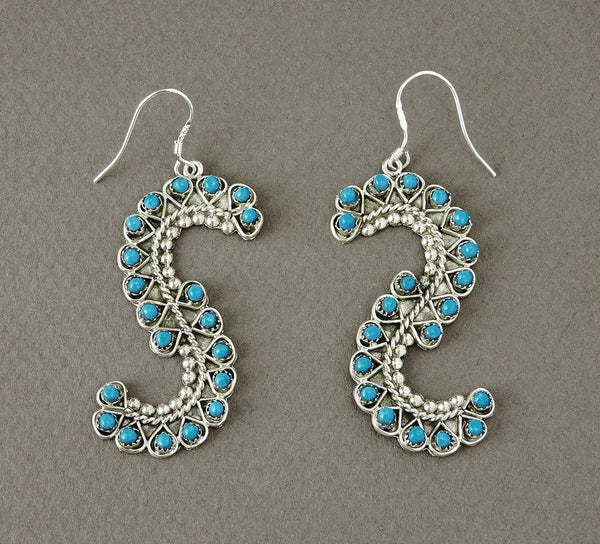 Sleeping Beauty Turquoise & Sterling Silver Swirl Earrings