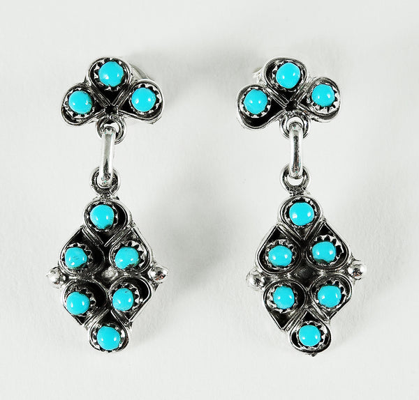 Pleasing Petit Point Earrings Of Sleeping Beauty Turquoise
