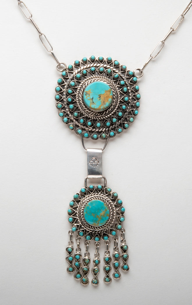 Sterling Silver & Kingman Turquoise Petit Point Necklace