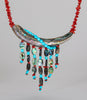 Abalone, Red Coral & Turquoise Corn Maiden Necklace