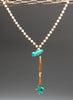 Mongolian Turquoise Bird & Hessonite Beads Pendant Necklace
