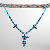 Lapis Feathered Friend Necklace With Turquoise & Sugilite Beads
