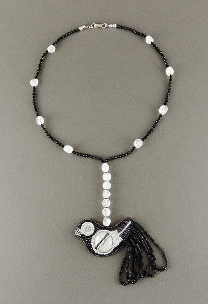 Moonstone, Quartz & Glass Beaded Bird Necklace