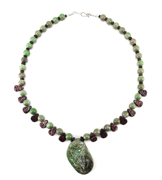 Reversible Corn Maiden Necklace Of Old Kingman Turquoise & Purple Spiny Oyster Shell
