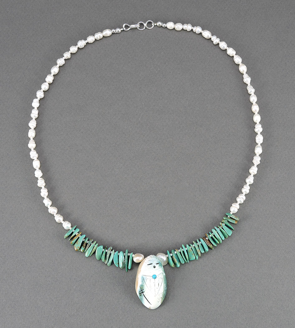 Pearl, Green Turquoise & Pacific Green Snail Shell Corn Maiden Necklace