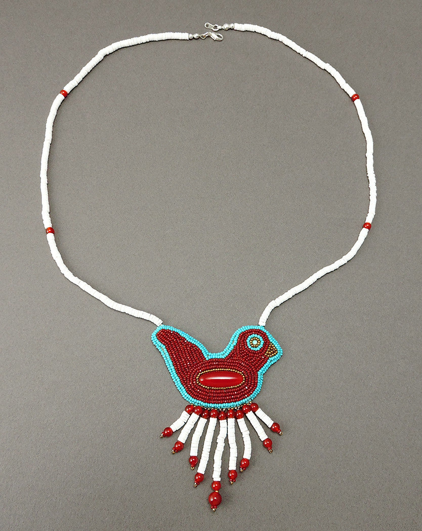 Beaded Carnelian, Turquoise & White Melon Shell Bird Necklace