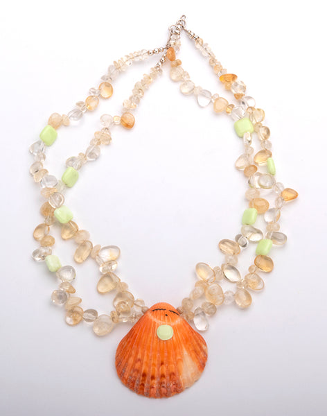 Lime Chrysoprase, Citrine, Quartz & Spiny Oyster Shell Maiden Necklace