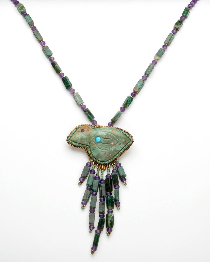 Carved Turquoise Bird With Aventurine & Amethyst Necklace